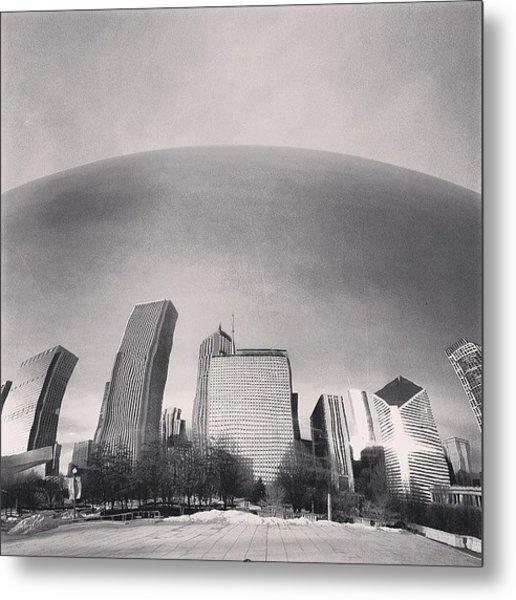 Cloud Gate Chicago Skyline Reflection Metal Print