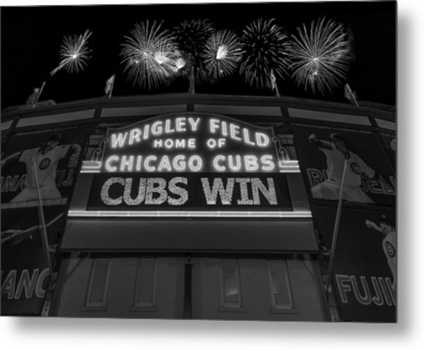 Chicago Cubs Win Fireworks Night B W Metal Print