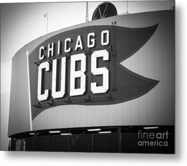 Chicago Cubs Wrigley Field Sign Black And White Picture Metal Print