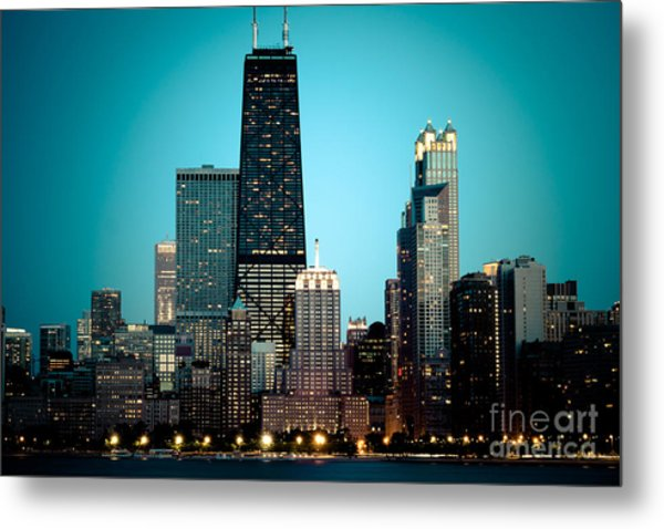 Chicago Downtown At Night With Hancock Building Metal Print