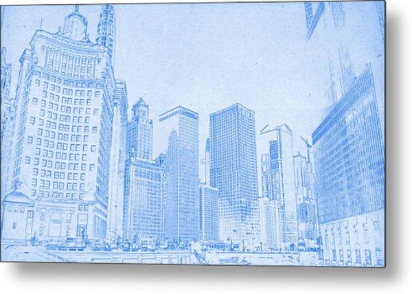 Chicago Downtown Blueprint Metal Print
