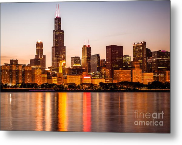 Chicago Downtown City Lakefront With Willis-sears Tower Metal Print