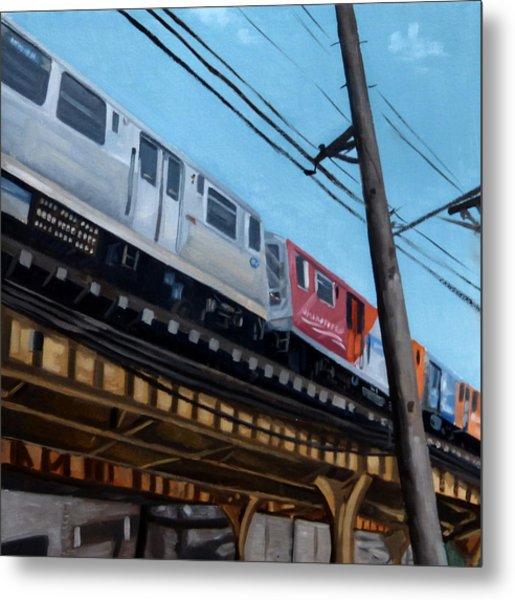 Chicago El Train Blue Line Metal Print