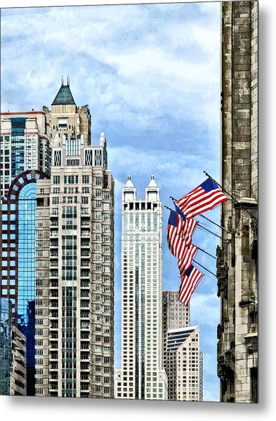 Chicago - Flags Along Michigan Avenue Metal Print by Susan Savad