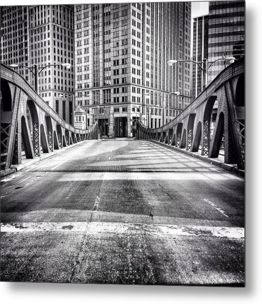 #chicago #hdr #bridge #blackandwhite Metal Print