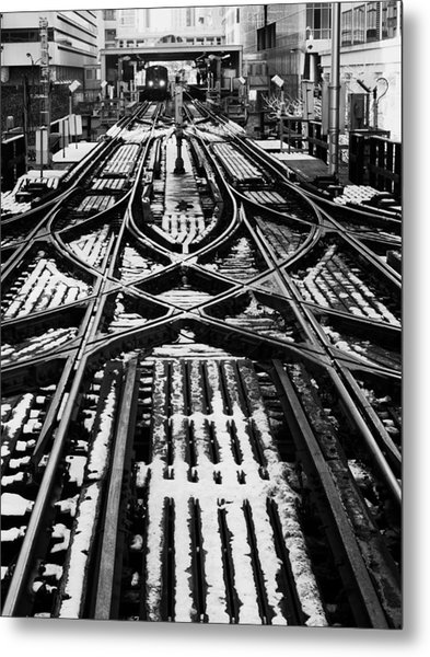 Chicago 'l' Tracks Winter Metal Print