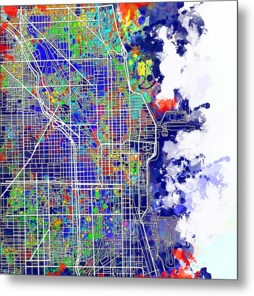 Chicago Map Color Splash Metal Print