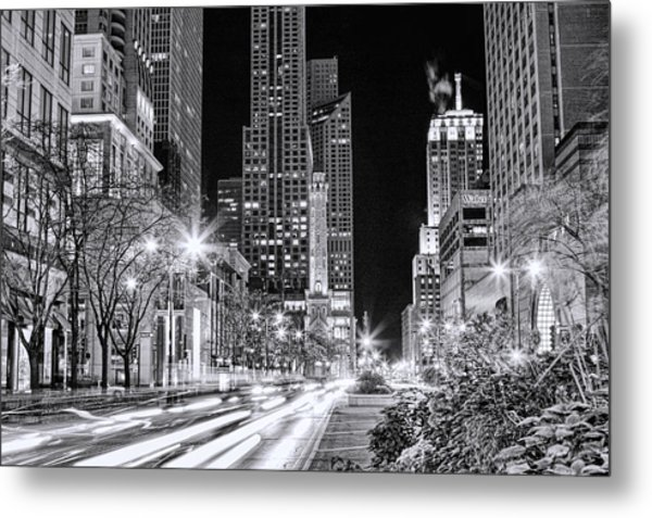 Chicago Michigan Avenue Light Streak Black And White Metal Print
