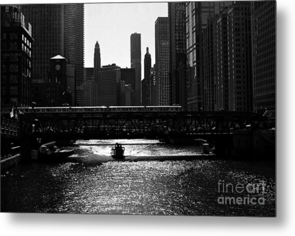 Chicago Morning Commute - Monochrome Metal Print