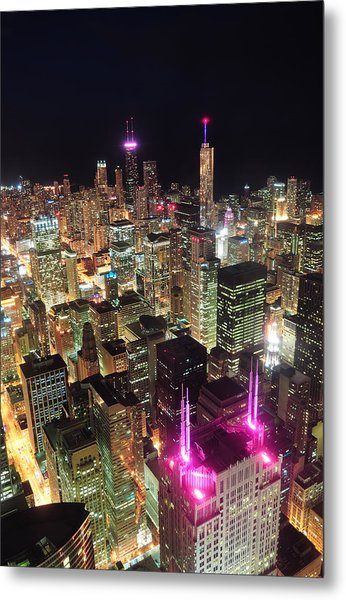 Chicago Night Aerial View Metal Print