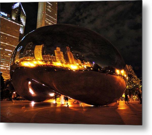 Chicago Night At Cloud Gate 001 Metal Print by Lance Vaughn