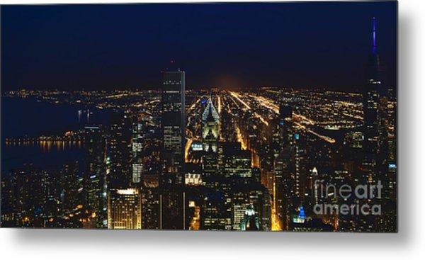 Chicago Night Lights Metal Print