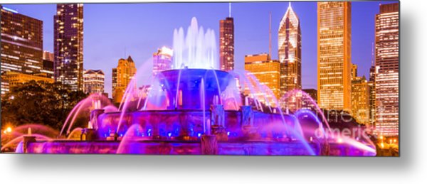 Chicago Panoramic Picture With Buckingham Fountain  Metal Print by Paul Velgos
