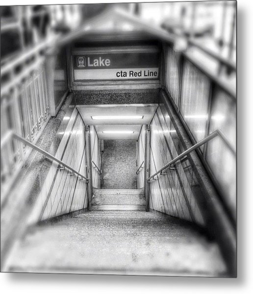 Chicago Lake Cta Red Line Stairs Metal Print