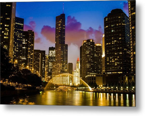 Chicago River Dusk Scene Metal Print
