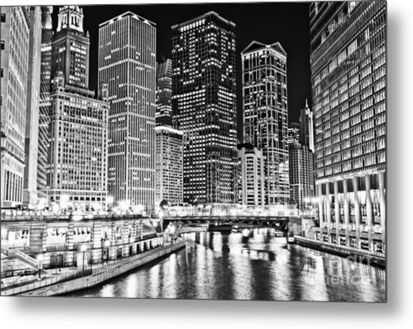 Chicago River Skyline At Night Black And White Picture Metal Print by Paul Velgos