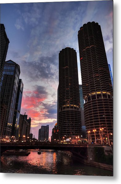 Chicago River Sunset 003 Metal Print by Lance Vaughn