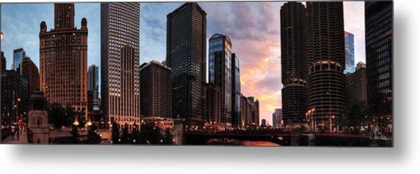 Chicago River Sunset Pano 001 Metal Print by Lance Vaughn