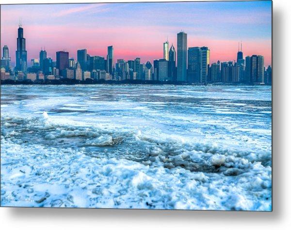 Chicago Skyline At Dawn - Lake Michigan 3-9-14 Metal Print by Michael  Bennett