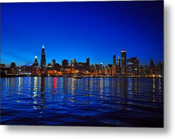Chicago Skyline At Dusk Metal Print