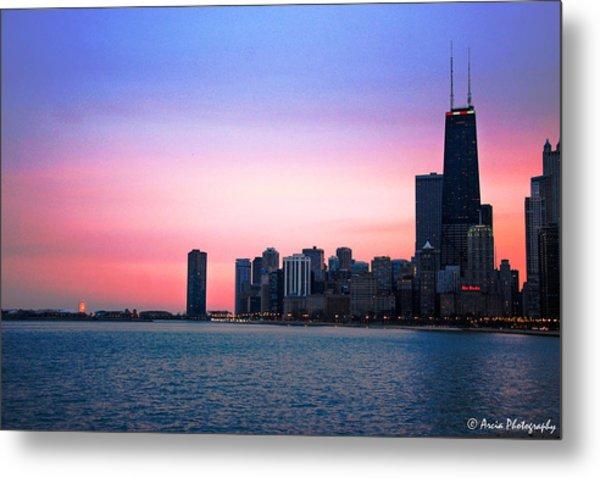 Chicago Skyline At Lake Michigan Metal Print