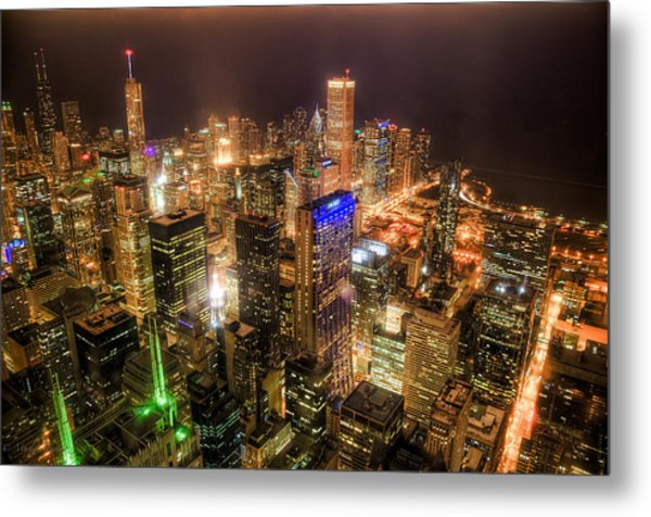 Chicago Skyline At Night - Hancock And Trump Metal Print by Michael  Bennett