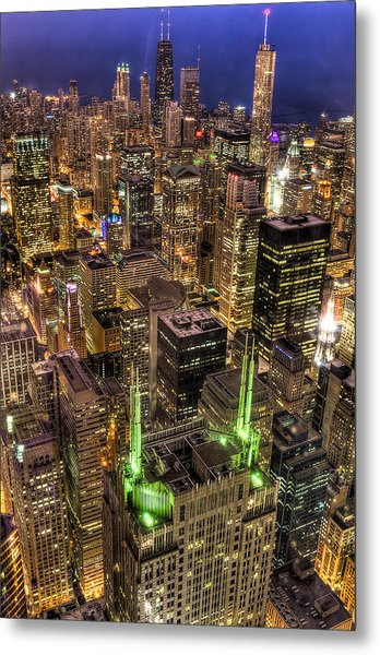 Chicago Skyline At Night 1 Metal Print by Michael  Bennett