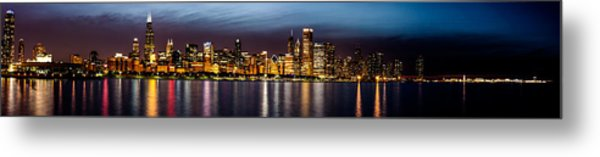 Chicago Skyline At Night Panoramic Metal Print