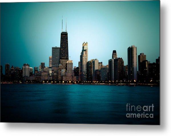 Chicago Skyline At Night Time Metal Print