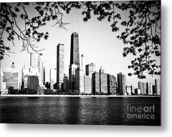 Chicago Skyline Black And White Picture Metal Print