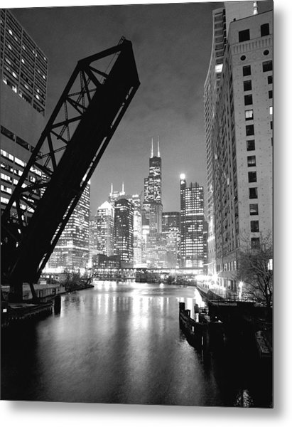 Chicago Skyline - Black And White Sears Tower Metal Print