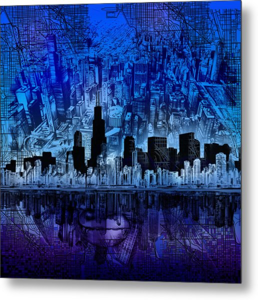 Chicago Skyline Blue Version Metal Print