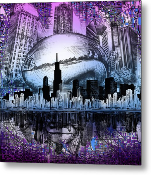 Chicago Skyline Drawing Collage 2 Metal Print