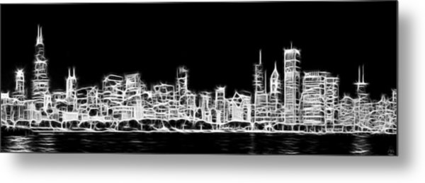 Chicago Skyline Fractal Black And White Metal Print