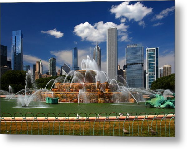 Chicago Skyline Grant Park Fountain Clouds Metal Print