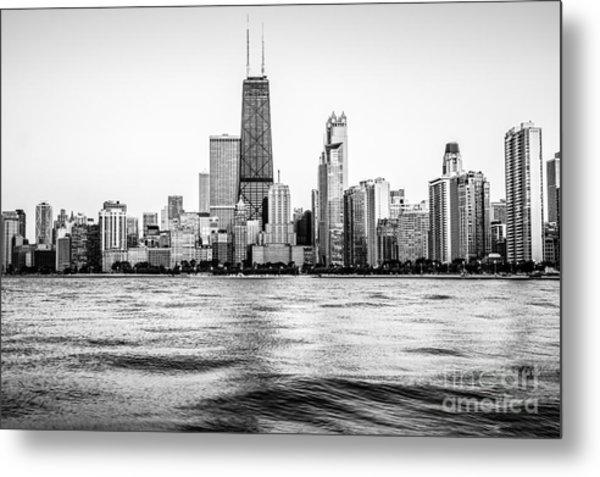 Chicago Skyline Hancock Building Black And White Photo Metal Print