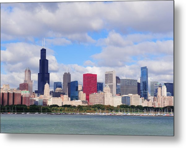 Chicago Skyline Over Lake Michigan Metal Print