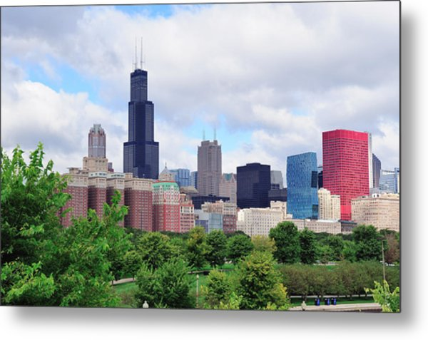 Chicago Skyline Over Park Metal Print