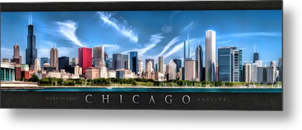 Chicago Skyline Panorama Poster Metal Print