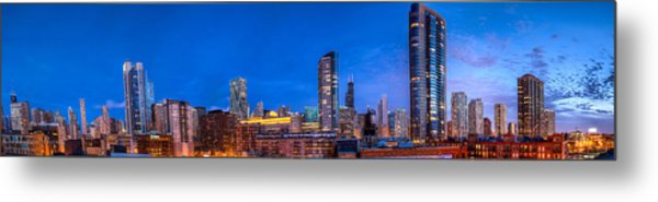 Chicago Skyline Photography - Blue Hour Cityscape Metal Print by Michael  Bennett