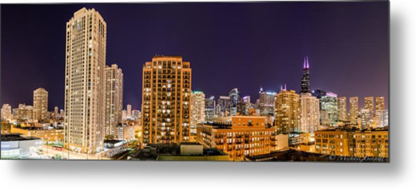 Chicago Skyline Photography October 2014 Metal Print by Michael  Bennett