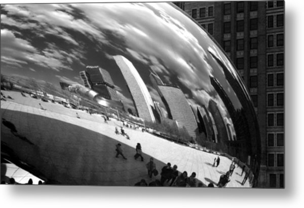 Chicago Skyline Reflected Bean Metal Print