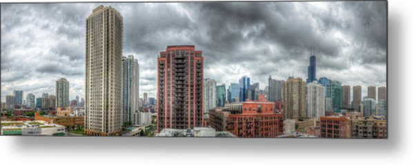 Chicago Skyline - Sears Tower 6 Shot Panorama Metal Print by Michael  Bennett