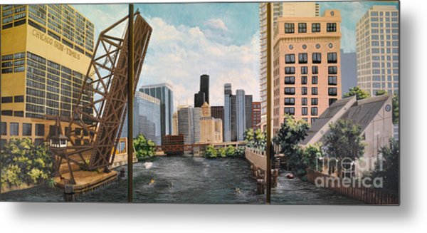 Chicago Skyline Triptych Metal Print