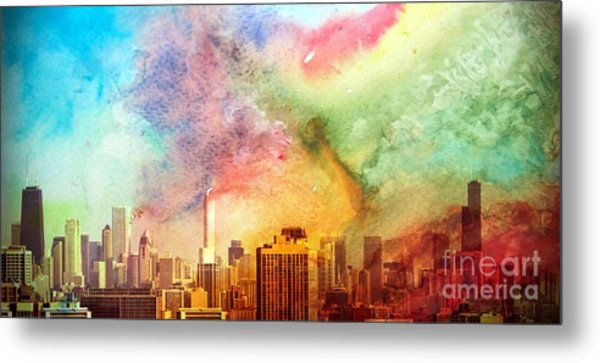Chicago Skyline Watercolor Sky Metal Print