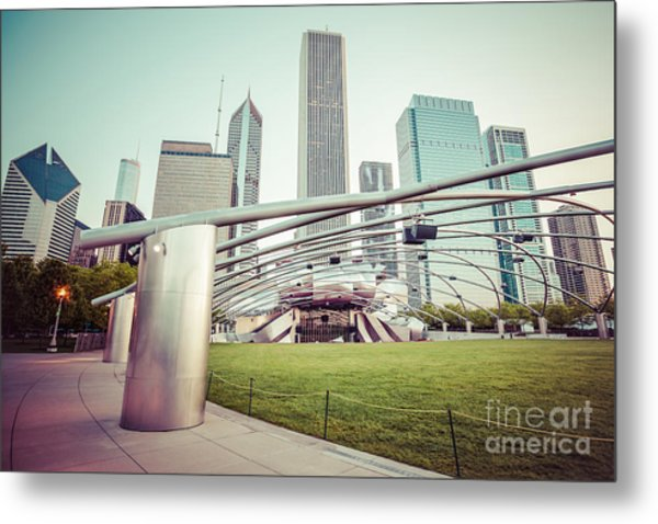 Chicago Skyline With Pritzker Pavilion Vintage Picture Metal Print