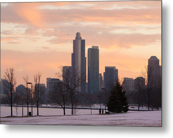 Chicago Skyscrapers In Sunset Metal Print