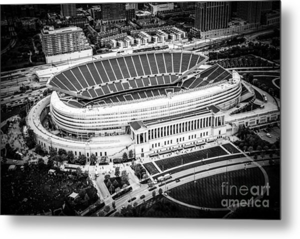 Chicago Soldier Field Aerial Picture In Black And White Metal Print