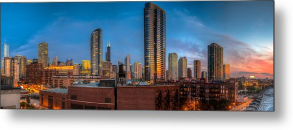 Chicago Sunset Photogtaphy Metal Print by Michael  Bennett