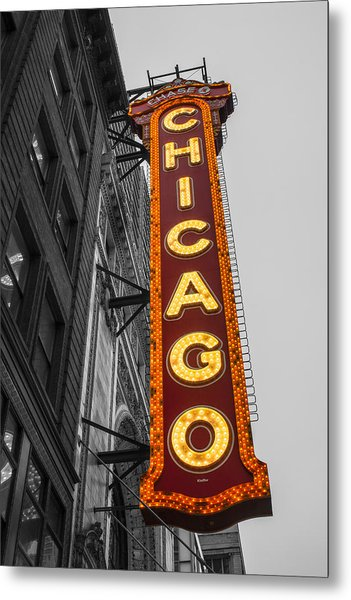 Chicago Theater Selective Color Metal Print